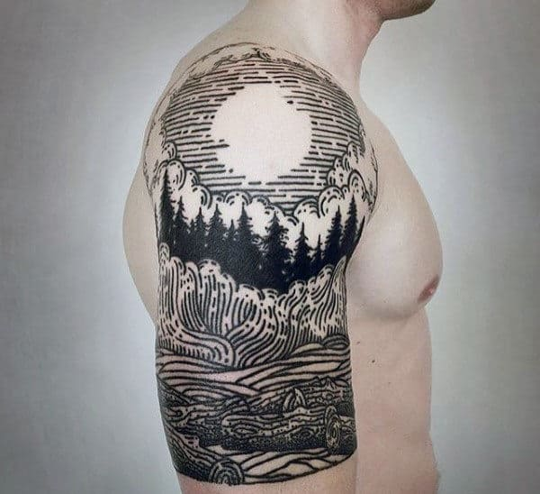 Woodcut Male Forest Half Sleeve Tattoo Designs