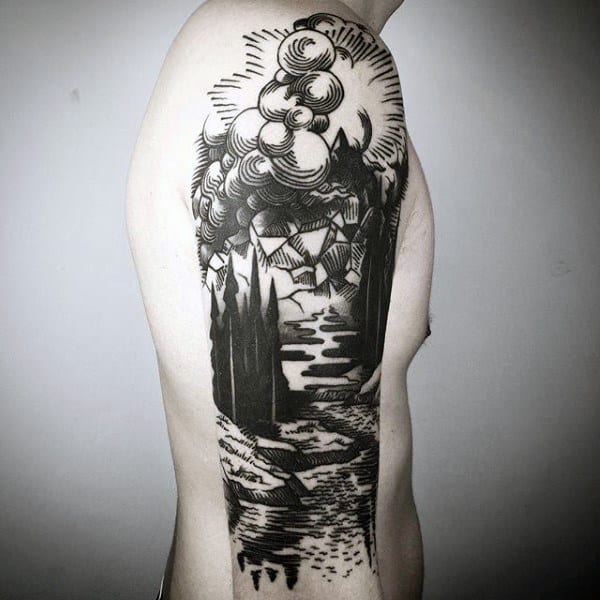 Woodcut Male Landscape Half Sleeve Tattoo Inspiration