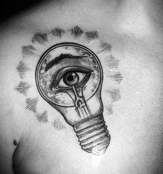 Woodcut Male Light Bulb Eye Upper Chest Tattoo Ideas