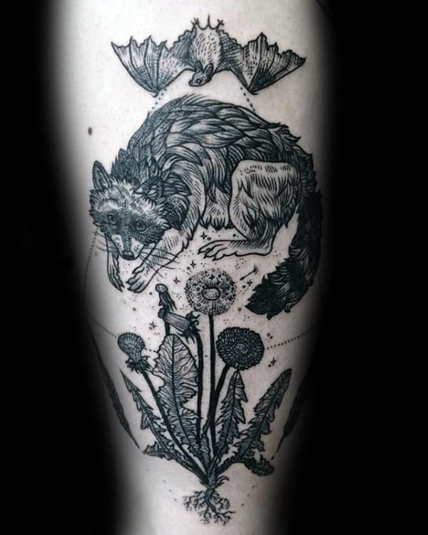 Woodcut Male Raccoon Arm Tattoo
