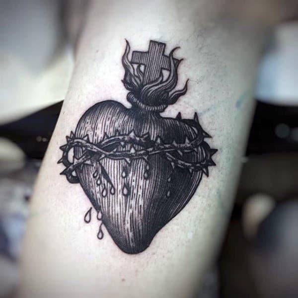 Woodcut Mens Amazing Detailed Sacred Heart Arm Tattoo Ideas