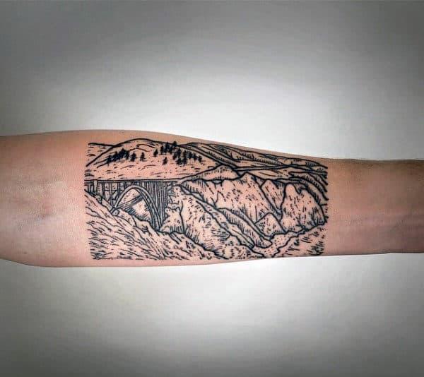 Woodcut Mens Inner Forearm Bridge Tattoo Designs