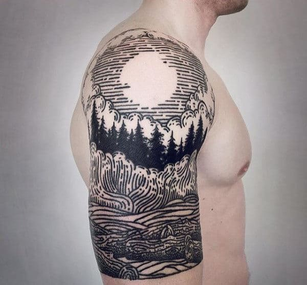 Woodcut Pine Tree Sleeve For Men With Moon