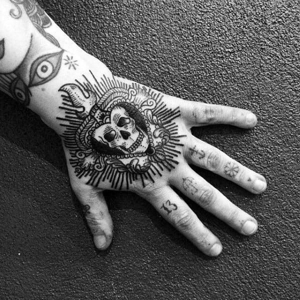 Woodcut Skull Mens Sacred Heart Hand Tattoos