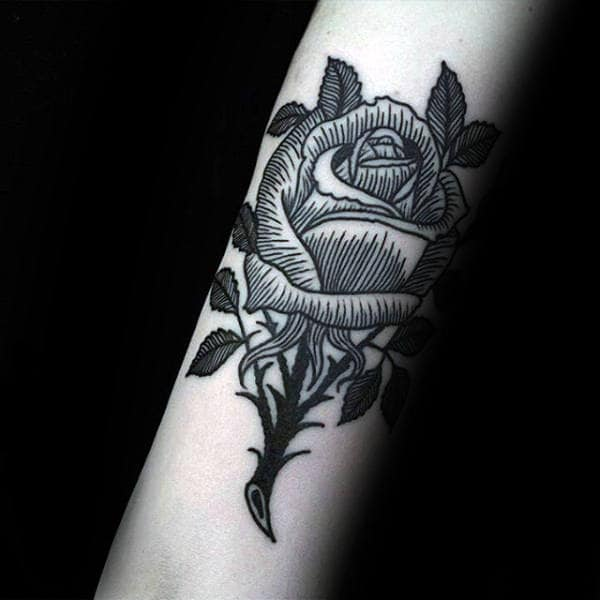Woodcut Traditional Rose Flower Mens Forearm Tattoo