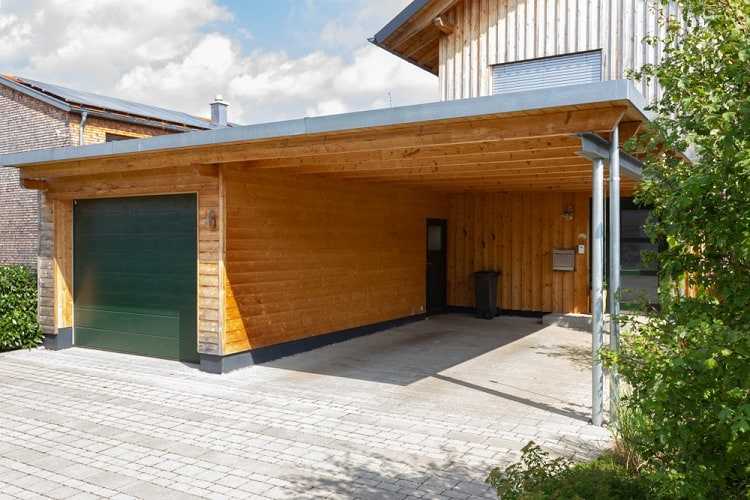 Wooden And Modern Attached Carport