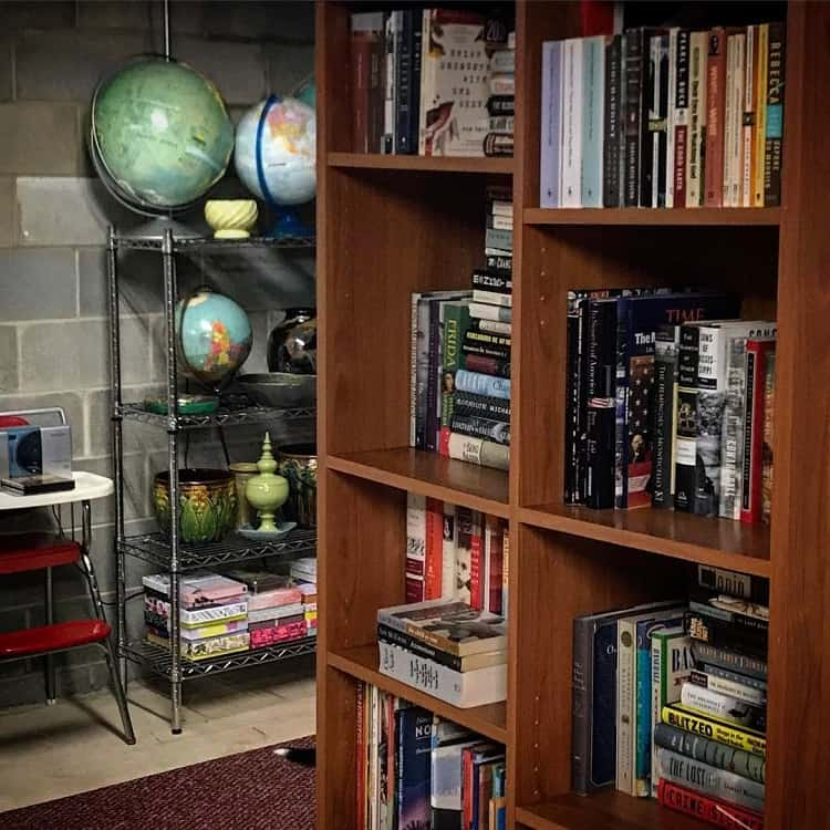 Wooden Book Shelf Basement Storage