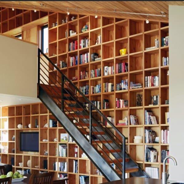 Wooden Bookshelf Ideas Staircase Design