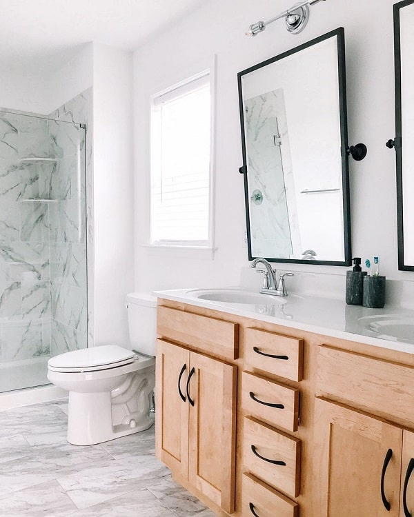 Wooden Cabinets Modern Farmhouse Bathroom Sarahzutell