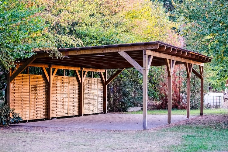 Carport For Three Vehicles Made Of Wood