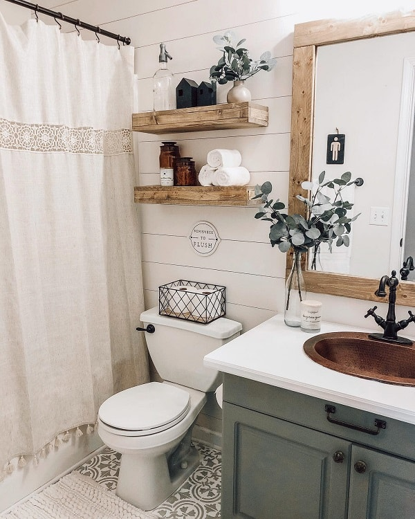 Wooden Floating Shelves Rustic Farmhouse Bathroom Withlovesierra