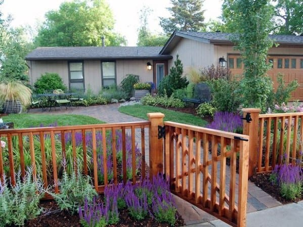 Wooden Front Yard Fence Ideas With Hinged Gate
