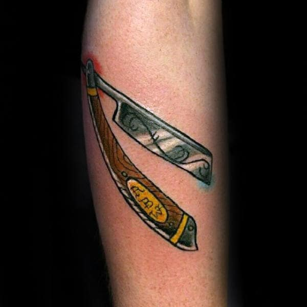 Wooden Handled Straight Razor Tattoo Male Forearms
