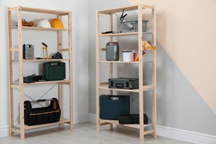 Wooden Open Shelf Basement Storage