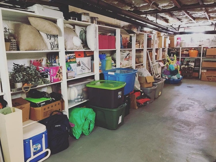 Wooden Shelves Bins Basement Storage