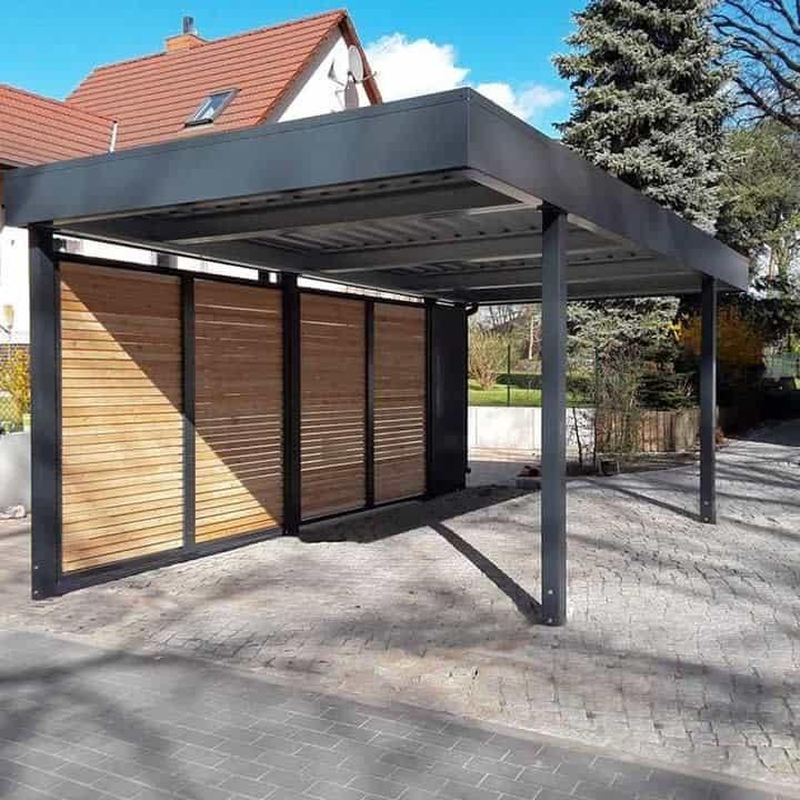 Wooden Slat Modern Carport Siebau Raumsysteme
