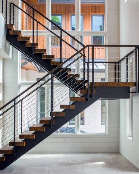 Wooden Stairs With Metal Railing And Steel Wire Ideas Inspiration