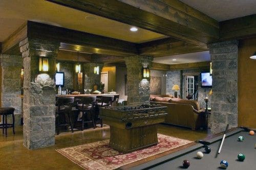 Wooden Stone Wall Man Cave Basement