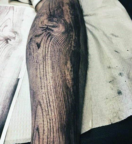 Woodgrain Male Wood Carving Forearm Sleeve Tattoo