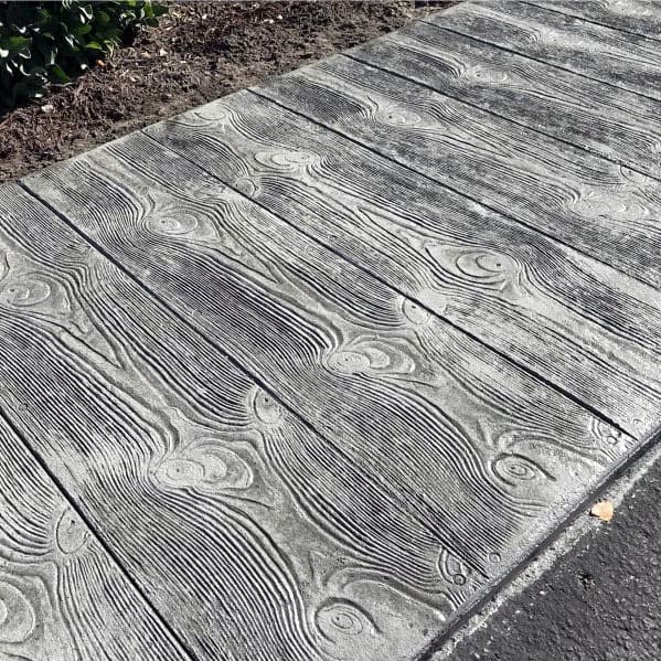 Woodgrain Stamped Excellent Exterior Ideas Concrete Walkway