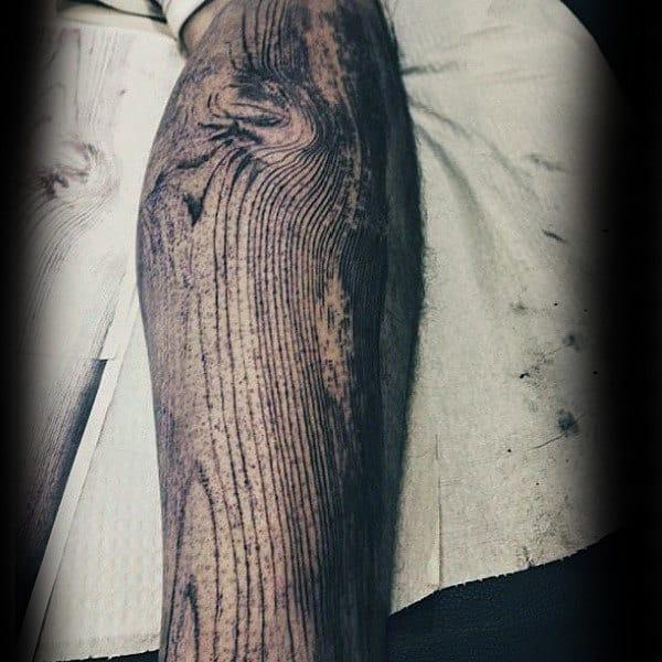 Woodgrain Unique Mens Leg Sleeve Tattoos