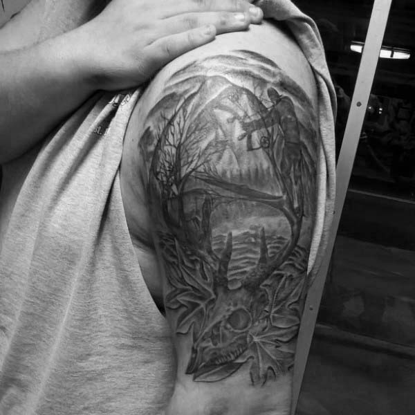 Woods Hunting Archery Tattoos For Men On Upper Arm