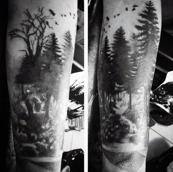 Woods Pine Tree Tattoo Ideas For Men