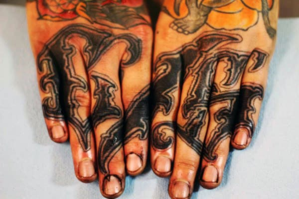 Word Finger Tattoos For Men With Script Design