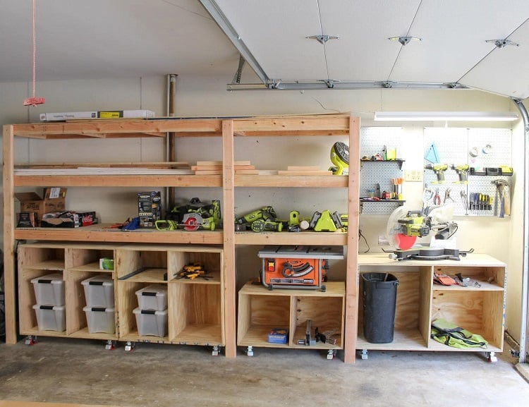 Work Space Open Wooden Garage Shelves Carolinesearshome