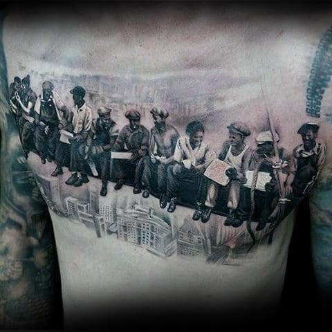 Workers On Steel Beam Over Buildings Mens Chest Tattoo With Realsitic Design