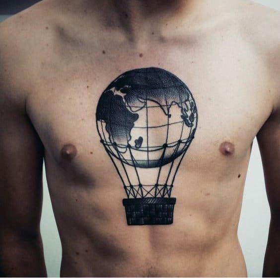 World Globe Hot Air Balloon Mens Chest Tattoos