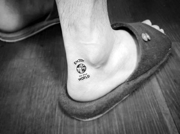 World Globe Quote Awesome Ankle Tattoos For Men