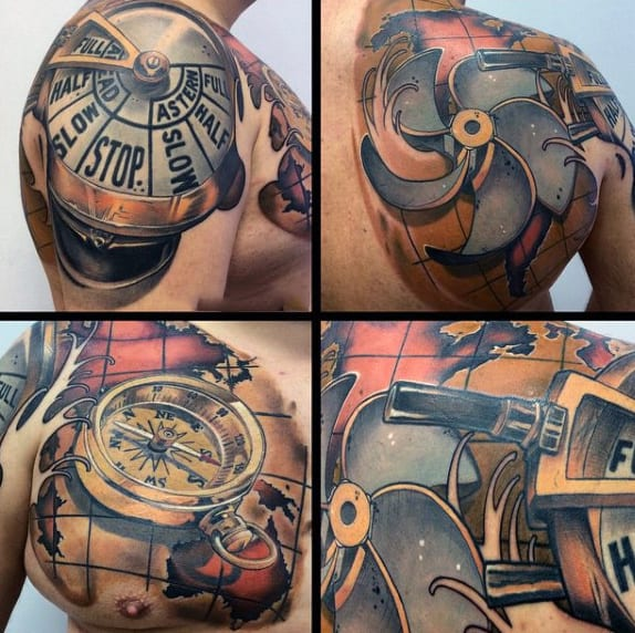World Map And Compass New School Tattoo Male Back