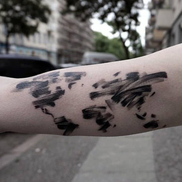 World Map Atlas Male Brush Stroke Tattoo