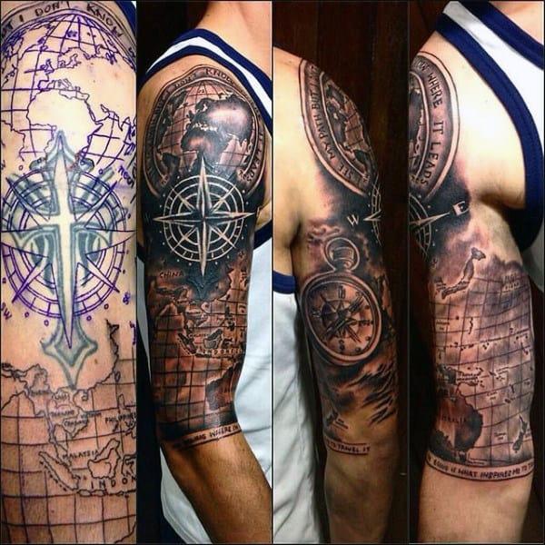World Map Compass Half Sleeve Guys Travel Tatoo Ideas
