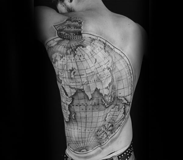 World Map Guys Globe Full Back Tattoo