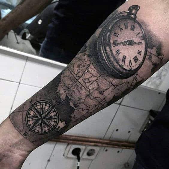 World Map Pocket Watch Guys Half Sleeve Forearm Tattoo Designs