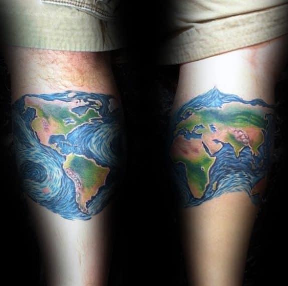 World Map Starry Night Themed Guys Leg Band Tattoo