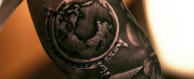 50 world map tattoo designs for men adventure the globe world map tattoo designs for men gumiabroncs Image collections