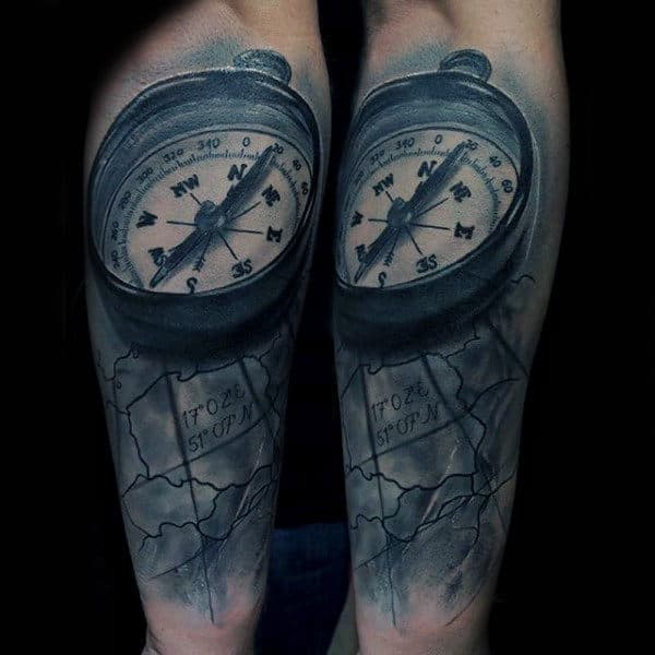 World Map With Compass Forearm Sleeves Tattoo For Men