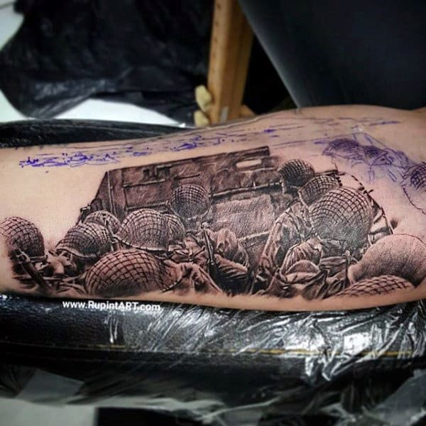 World War Mens Bicep Army Soliders Tattoo