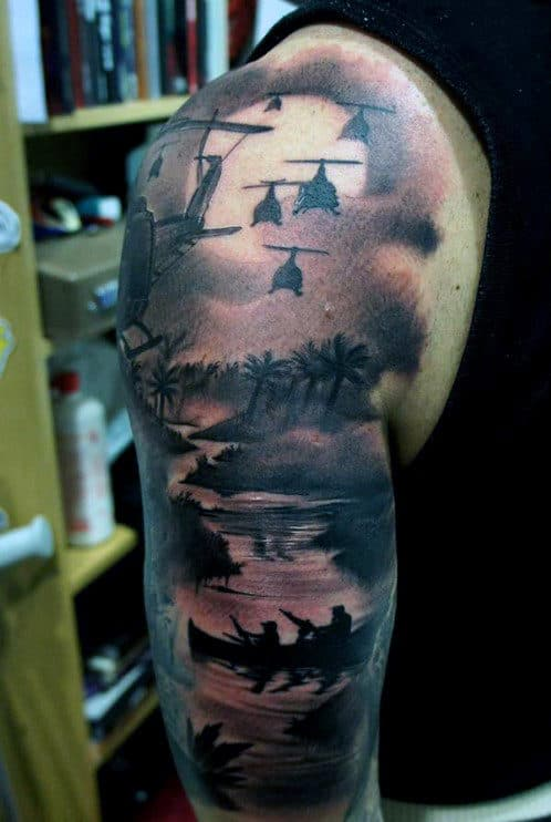 World War Sleeve Badass Tattoos For Guys