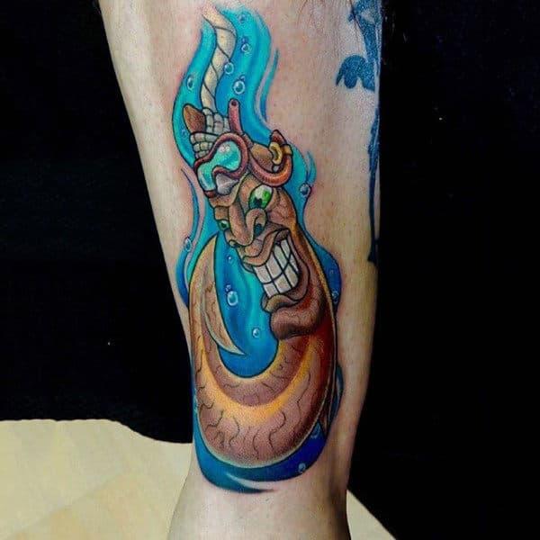 Worm Fish Hook Cartoon Style Mens Tattoo On Forearm