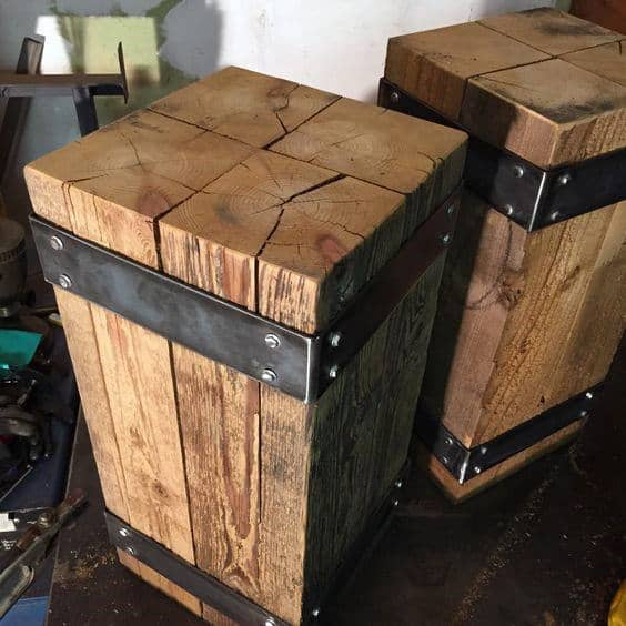 Wrapped Wood Beam Man Cave Decor End Tables