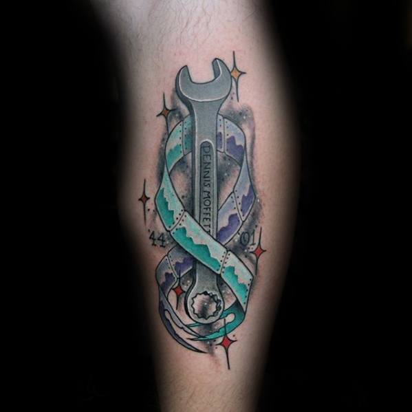 Wrench Tattoo Designs For Guys Side Of Leg