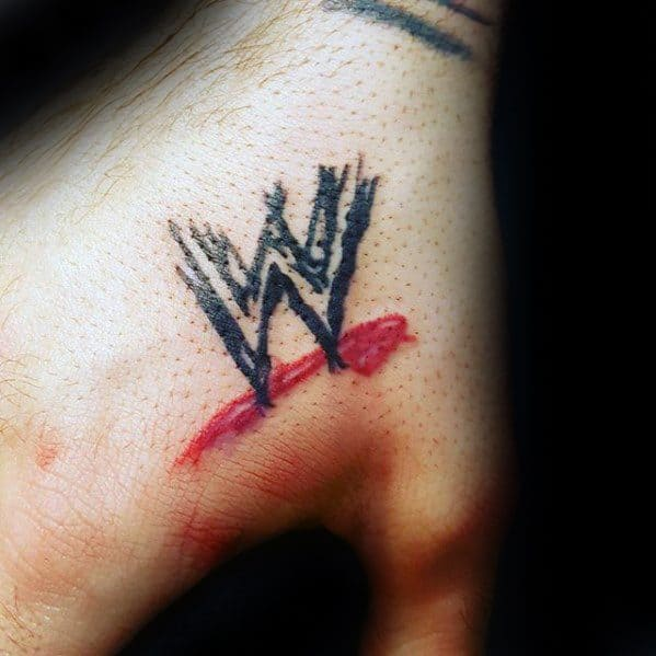 Wrestling Logo Mens Small Hand Tattoo
