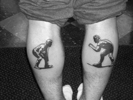 Wrestling Tattoos Men On Leg Calf