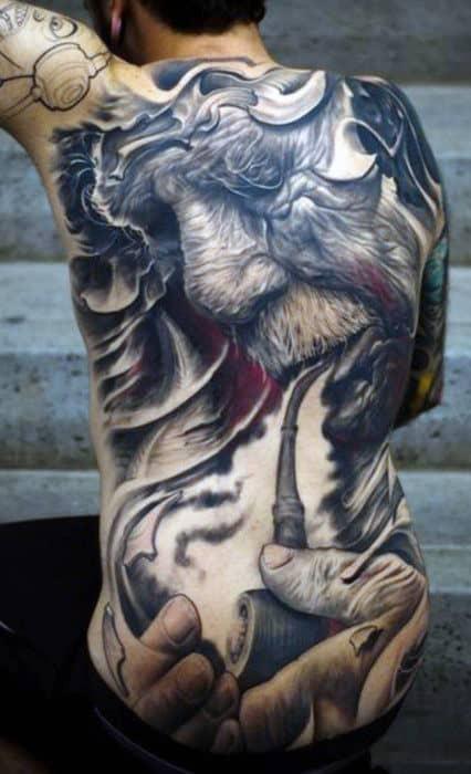 Wrinkled Hairy Man Smoking Pipe Tattoo Mens Full Back
