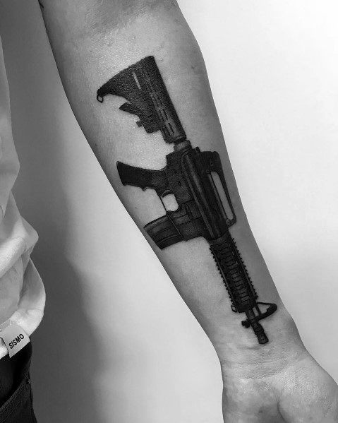 Wrist And Forearm Distinctive Ar 15 Tattoos For Men