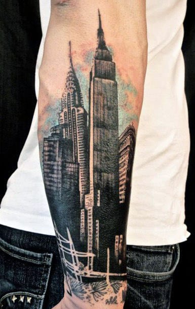 Wrist And Forearm Guys Watercolor Building Tattoo